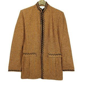 St. John Embroidered Leaves Tweed Tunic Jacket